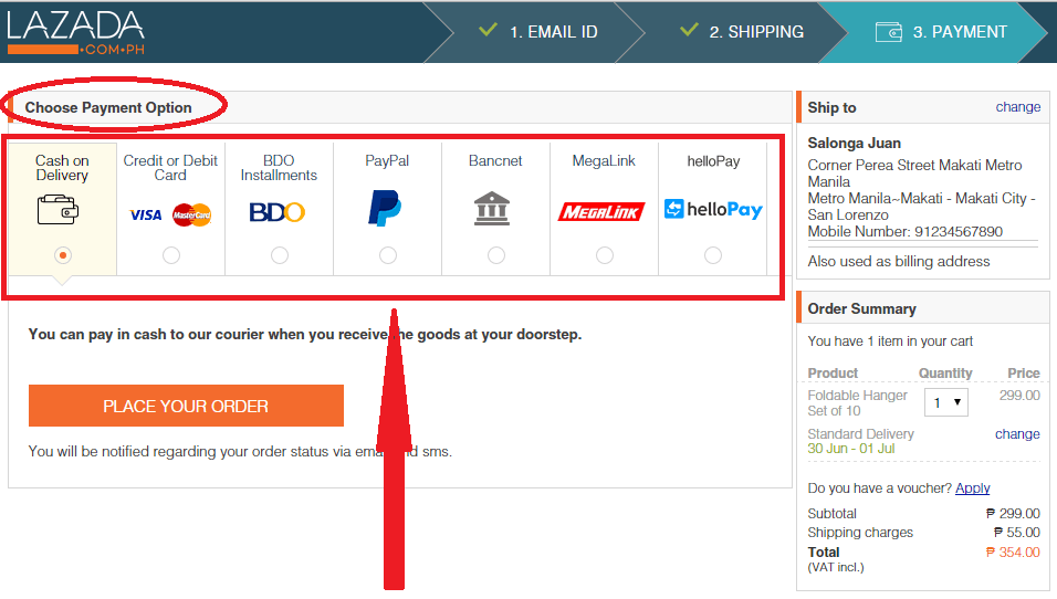 Lazada Orders & Payments - Placement Process & Payment