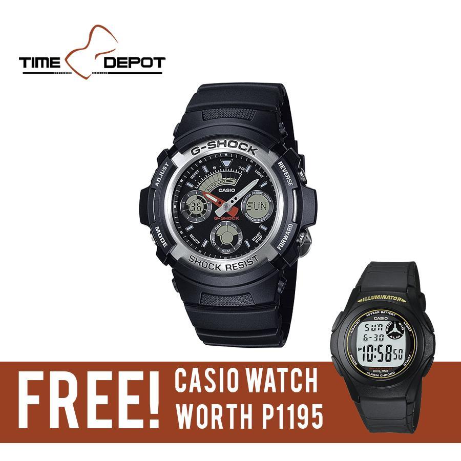 Casio G Shock Watch Ga 100bw 1a Fesyen 400hr 1adr Mens Black Resin Strap Aw 590 With Free