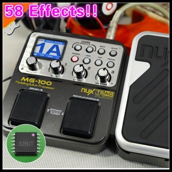 58 Effects 6-band Graphic EQ Built-in Drum Machine NUX MG-100Electric Guitar/Violin/Ukulele Multi-Effects Pedal Processor C with72 Presets Loop Function+Free 9V Power Adapter Converter Processor- intl