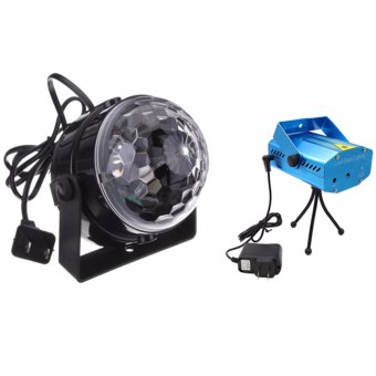 5W RGB Crystal Magic Ball Effect Stage Light Voice Control Party Disco Club With LED Mini Laser Stage Light Projector Club Dj Disco Bar Stage Light (Blue)