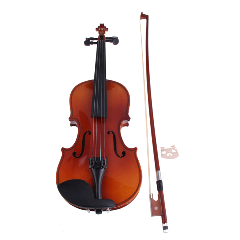 Basswood 1/8 Full Size Natural Acoustic Violin with Case Bow Rosin ...