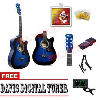 Davis Hot Picks Acoustic Guitar Package with FREE Guitar Tuner (Blue)
