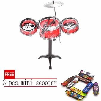 Lucky man Jazz Drum Playset Percussion Musical InstrumentIntelligence Educational Toy for Boy Girl Kids Baby Children GiftRED with free 3 pcs mini scooter
