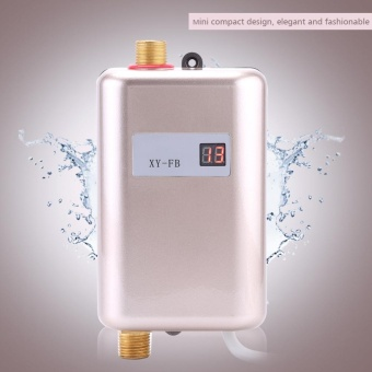 220V 3400W Mini Instant Hot Water Heater Bathroom Kitchen Electric Tankless Machine- Golden - intl