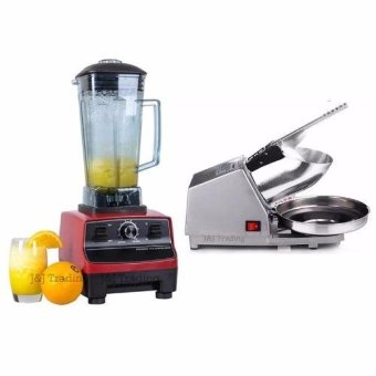 2L Commercial 3HP Blender Mixer HEAVY DUTY Ice Crusher 2200W (Red)With Ice Smashing Electric Crusher Machine (Silver)