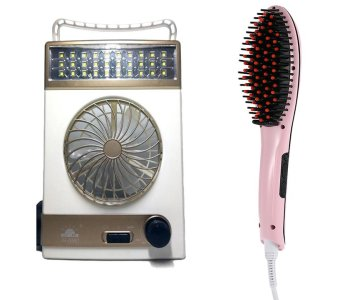 3-in-1 Solar Light Fan (White/Champagne) with 2IN1 Electric HairStraightener Comb LCD