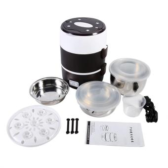 3 Tier Electric Heated Heating Lunch Box Set Food Warmer ContainerBento Portable 220V - intl