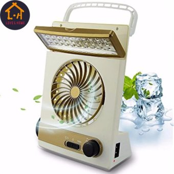 3in1 Solar Power Rechargeable LED Light Fan (Gold/White)