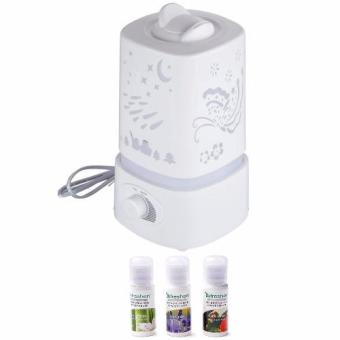 Accelerator 1.5L Ultrasonic Air Humidifier with LED Light Changing Assorted design (White) with 3 Aroma scent 15ml