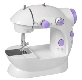 Double Thread Sewing Machine with Foot Pedal and Adapter(White/Lavender)