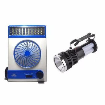 GMY High Quality Rechargeable 3 in 1 Solar Light Fan (Blue) withYJ-2881T Solar and Rechargeable Portable Lamp/Flashlight (Black)