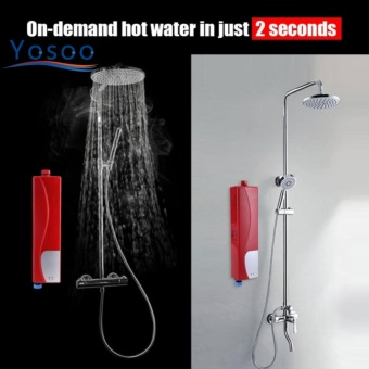 Justgogo-Electric Tankless Water Heater, Instant Water Heater Red