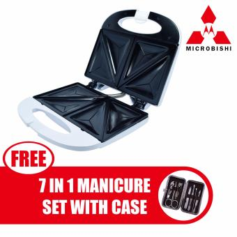 Microbishi Sandwich Maker MSM-2605 Breadmaker Barbecuemachine(White) with free Microbishi 7-in-1 Manicure Set with Casebest quality (DarkBrown)