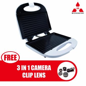 Microbishi Sandwich Maker MSM-2626/KW-2626 Microbishi (White) withfree Universal 3 in 1 Smartphone and Tablet Camera Clip Lens(Black)
