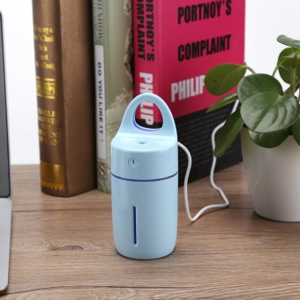 Portable Car Home USB Colorful Night Light Cup Shape Humidifier AirDiffuser Mist Maker Blue - intl