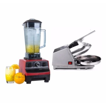 SNS 2L Commercial 3HP Blender Mixer HEAVY DUTY Ice Crusher 2200W (Red) with Ice Smashing Electric Crusher Machine (Silver)