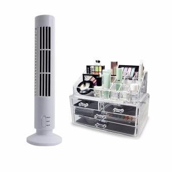 SNS High Quality 2-Speed USB Tower Fan (White) with 360 DegreeRotating Make up Organizer Cosmetic Display Brush Lipstick StorageStand Box (Silver)
