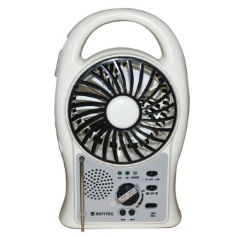 Sofitec SRP-2402 Rechargeable Multifunctional Fan FM (White)