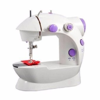 XZY Double Thread Sewing Machine with Foot Pedal and Adapter (White-Lavender)
