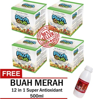 Flush Out Colon Cleanse Prebiotics & Probiotics 4 Boxes (10 Sachets/Box) FREE 12 in 1 Super Antioxidant Buah Merah