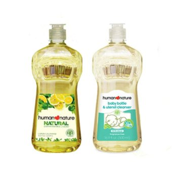 Human Nature Natural Dishwashing Liquid 500ml and Natural BabyBottle and Utensil Cleanser 500ml