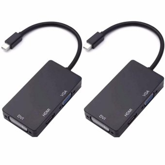 3 In 1 Mini Display Port DP Thunderbolt to DVI VGA HDMI AdapterCable for MacBook (Black) SET OF 2