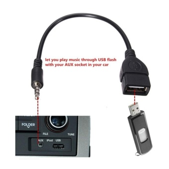 3.5mm Male AUX Audio To USB 2.0 Type A Female Car Converter Adapter Cable Lead - intl