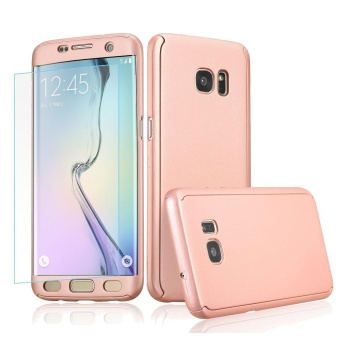 360 Full Body Coverage Protection Hard Slim Ultra-thin Hybrid CaseCover with Tempered Glass Screen Protector for Samsung Galaxy S5(Rose Gold) - intl