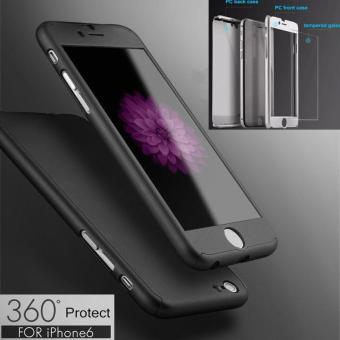 360 Full Protection Tempered Glass Case for iPhone 6/6s Coque-Black - intl