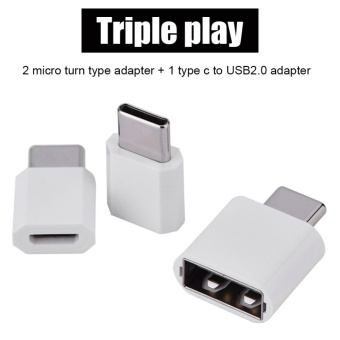 3PCS Micro USB Female to Type C USB 3.1 Male OTG Adapter Converter Set Suit White - intl