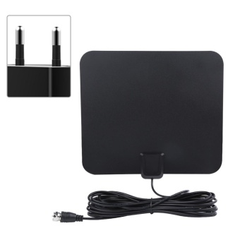 50 Miles Range High Gain Indoor Amplified Digital TV HDTV Antenna with 16ft Cable (EU Plug) - intl