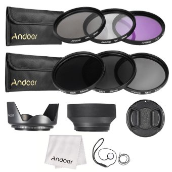 Andoer 55mm Lens Filter Kit UV+CPL+FLD+ND(ND2 ND4 ND8) with CarryPouch / Lens Cap / Lens Cap Holder / Tulip & Rubber Lens Hoods/ Cleaning Cloth