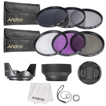 Andoer 67mm Lens Filter Kit UV+CPL+FLD+ND(ND2 ND4 ND8) with CarryPouch / Lens Cap / Lens Cap Holder / Tulip & Rubber Lens Hoods/ Cleaning Cloth