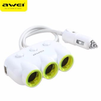 Awei C-35 Multi-Function Universal Car Charger 3 Socket Adapter with 2 USB Port (White)