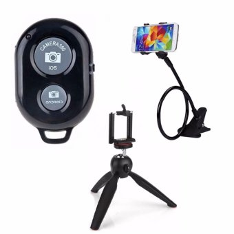 Bluetooth Wireless Remote Control Camera Shutter Release for iOS /Android Phones(black) with Lazypod Color May Vary with 228 YuntengTripod