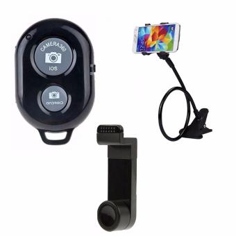 Bluetooth Wireless Remote Control Camera Shutter Release for iOS /Android Phones(black) with Lazypod Color May Vary with Universal360 Car Mount
