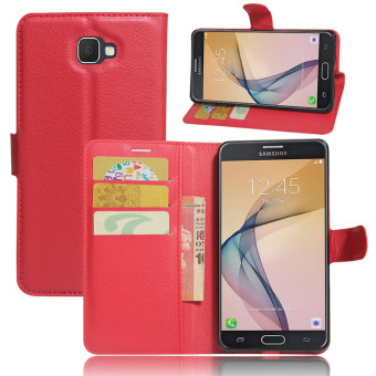BYT Leather Flip Cover Case for Samsung Galaxy J7 Prime (Red)