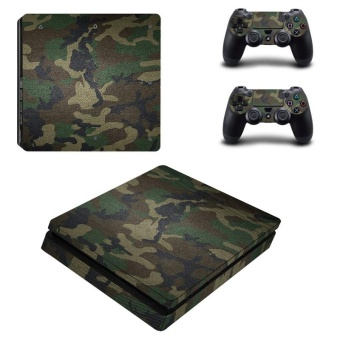 Camo Camouflage Design Vinyl Skin Sticker for Sony Playstation 4Slim PS4 Slim Console & 2pcs Controller Protection FilmStickers YSP4S-0072 - intl