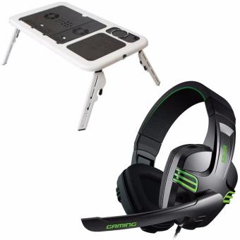 E-Table Foldable Laptop Cooler (White) with Salar KX-101Over-the-Ear Gaming Headset (Black)