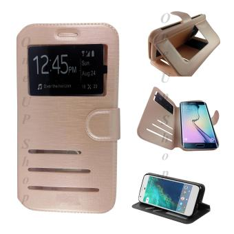 Faux Leather Flip Cover Case for Samsung Galaxy J2 (2016) (Gold)