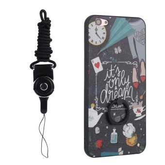 Finger Grip Stand Ring Hold Vantage Case 3D Relief Painting HardBack Cover For VIVO V5 Lite / Y66 with Lanyard - intl