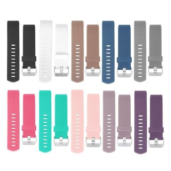 Fitbit Charge 2 Band, Hanlesi TPU Soft Silicone AdjustableReplacement Sport Strap Band for Fitbit Charge 2 Smartwatch HeartRate Fitness Wristband - intl
