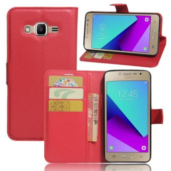 Flip Leather Wallet Cover Case For Samsung Galaxy J2 Prime G532(Red) - intl