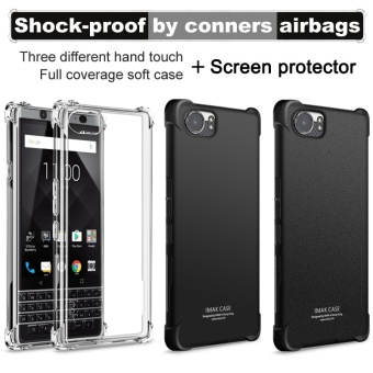 For BlackBerry KEYone DTEK70 Mercury Airbag Case Soft TPU siliconefull protect Back Cover For Blackberry keyone handphone casing(matte black)+Screen Protector film - intl