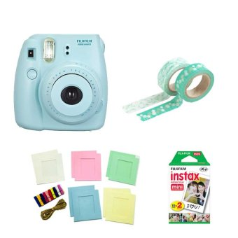 Fujifilm Instax Mini 8 Instant Camera (Blue) with Instax Film TwinPack, Photo Hangers and Washi Tapes Bundle