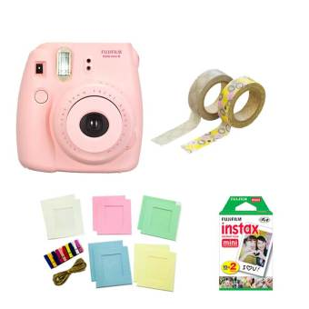 Fujifilm Instax Mini 8 Instant Camera (Pink) with Instax Film TwinPack, Photo Hangers and Washi Tapes Bundle