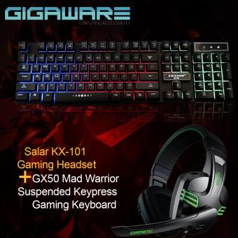 Gigaware Salar KX-101 Gaming Headset with GX50 Mad Warrior Suspended Keypress Gaming Keyboard