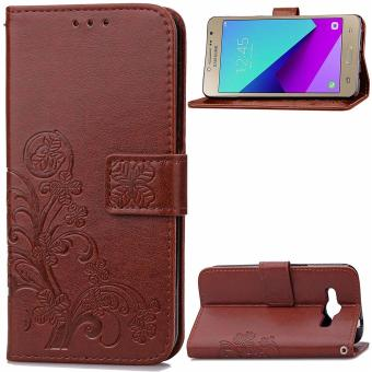 Grand Prime Plus / J2 Prime Case, Lucky Clover PU Leather FlipMagnet Wallet Stand Card Slots Case Cover for Samsung Galaxy GrandPrime Plus / J2 Prime (Brown) - intl