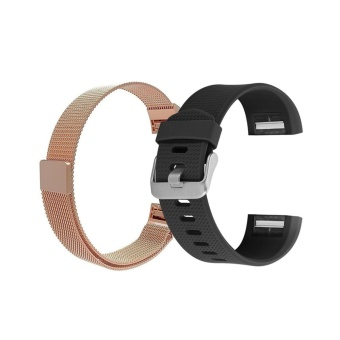 Hanlesi Band Fitbit Charge 2 ,TPU Soft + Stainless Steel AdjustableReplacement Sport Strap Band for Fitbit Charge 2 Smartwatch HeartRate Fitness Wristband - intl