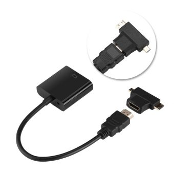 HDMI To VGA Adapter With Audio Cable T-Type Micro+Mini HDMIConnector For PS3 PS4 Xbox360 Black - intl